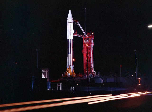 An Atlas Centaur 7 rocket on the launchpad at Cape Canaveral