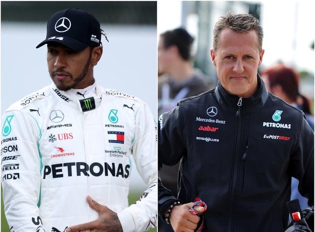 Lewis Hamilton has matched Michael Schumacher's wins
