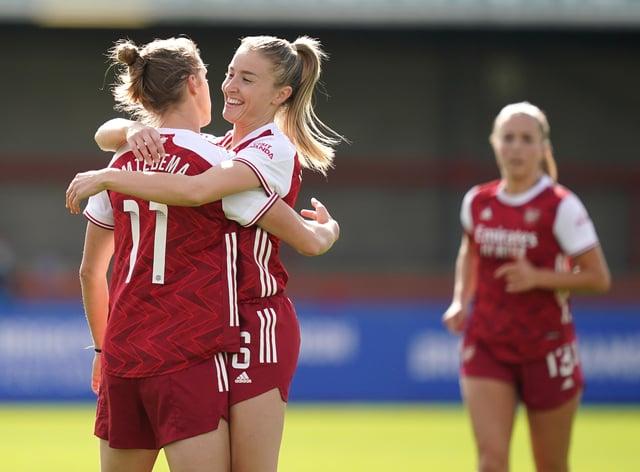 Vivianne Miedema, left, scored a brace for Arsenal Women against Brighton