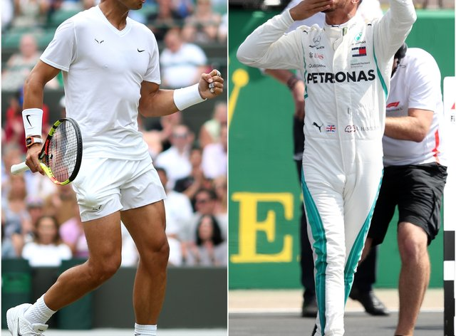 Rafael Nadal, left, and Lewis Hamilton equalled impressive records on Sunday