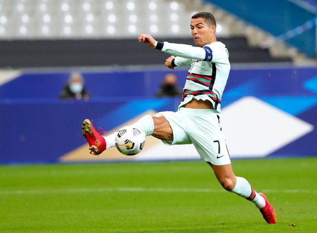 Cristiano Ronaldo went close to breaking the deadlock in stoppage time at Stade de France