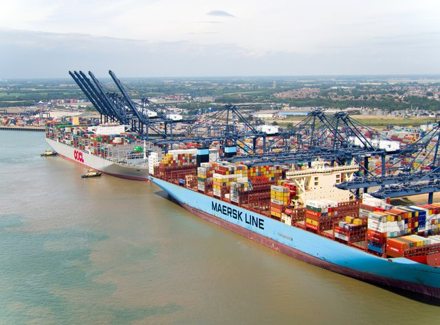 An aerial view of the Port of Felixstowe in Suffolk (Steve Parsons/PA)