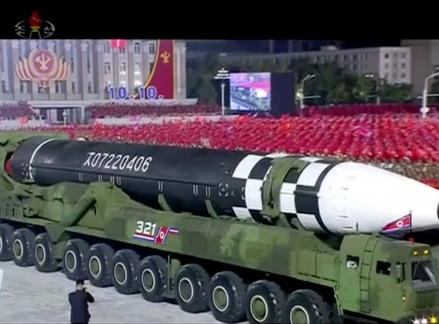 A military parade in North Korea with what appears to be a possible new intercontinental ballistic missile