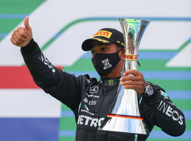 Hamilton equalled Michael Schumacher's record of 91 Grand Prix victories on Sunday