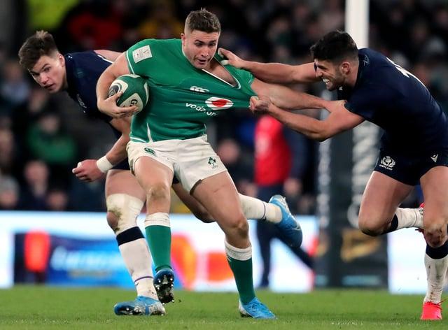 Ireland's Jordan Larmour, centre, has suffered an injury setback