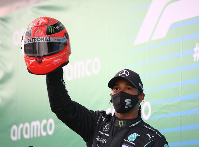 Lewis Hamilton has equalled Michael Schumacher's record of 91 race wins in Formula One