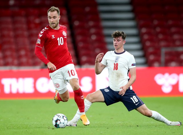Christian Eriksen, left, will win his 100th cap at Wembley