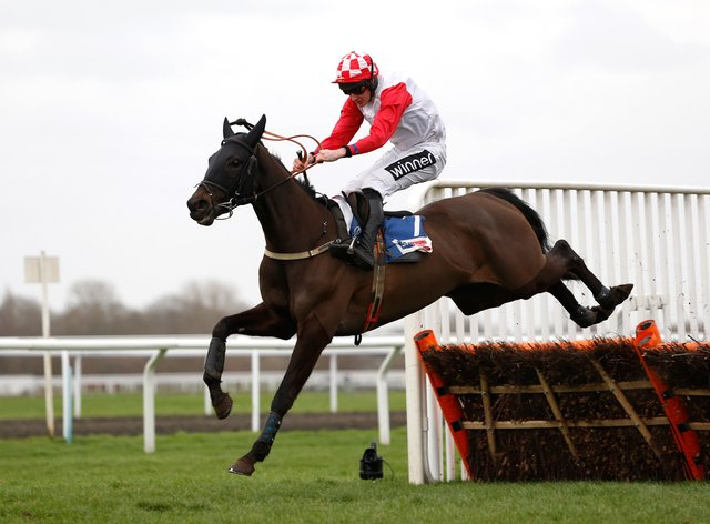 Highway One O Two winning The Sky Bet Dovecote Novices' Hurdle Race run during Betway Chase Day at Kempton