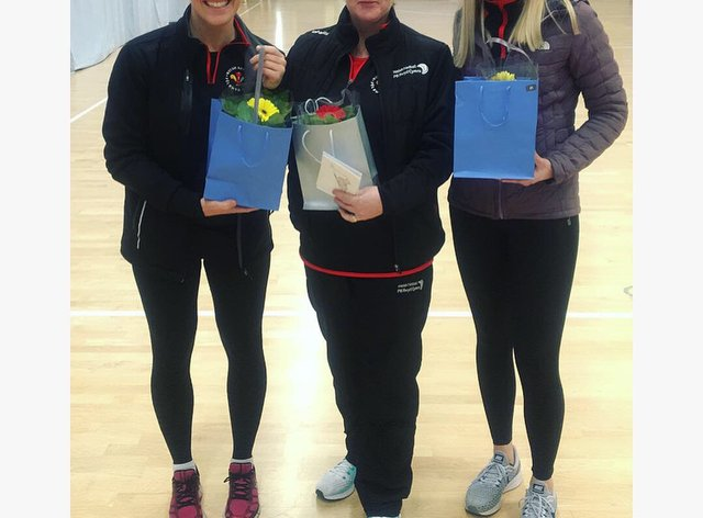 Clare Jones (left) signs for Celtic Dragons