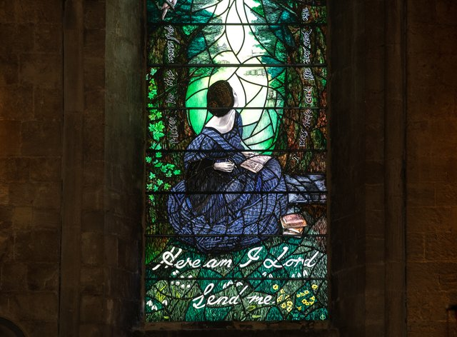 The stained glass window of Florence Nightingale