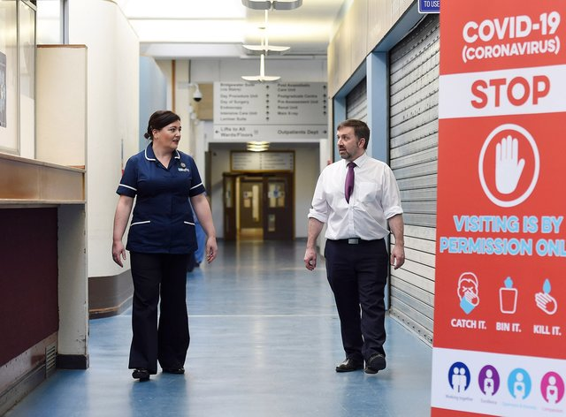 Northern Ireland health minister Robin Swann at Northern Ireland's Nightingale hospital in Belfast in April