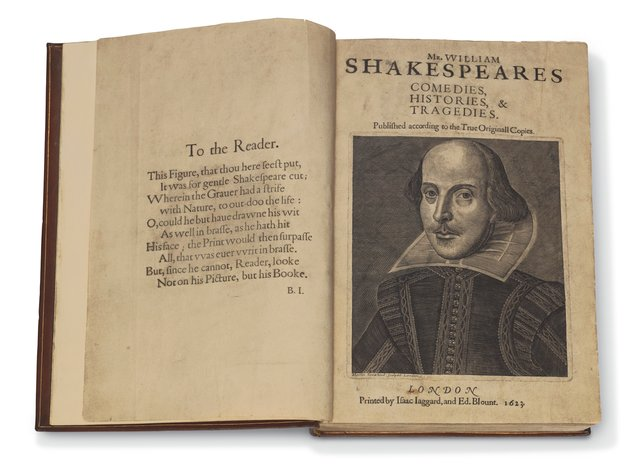 William Shakespeare's First Folio, printed in 1623
