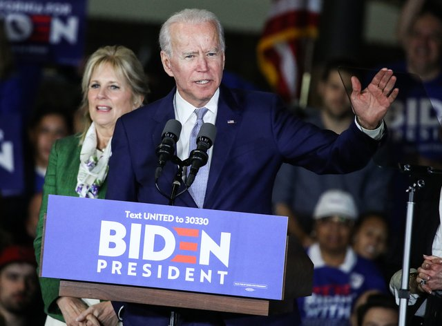 Biden currently has a small lead in the election polls