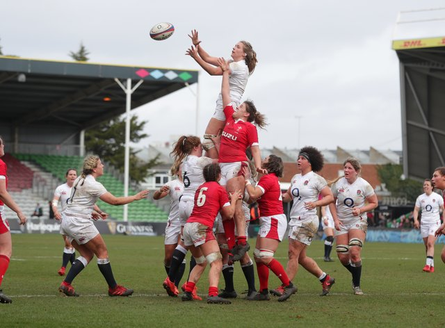 Aldcroft, in the air, has won England's Women's Player of the Year
