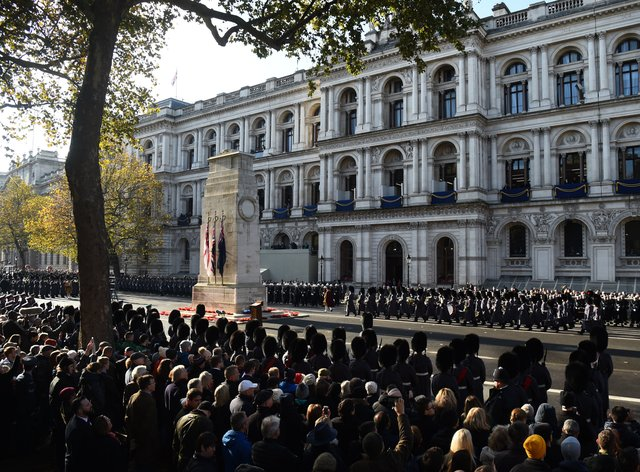 The Remembrance Sunday service at the Cenotaph memorial in Whitehall, central London