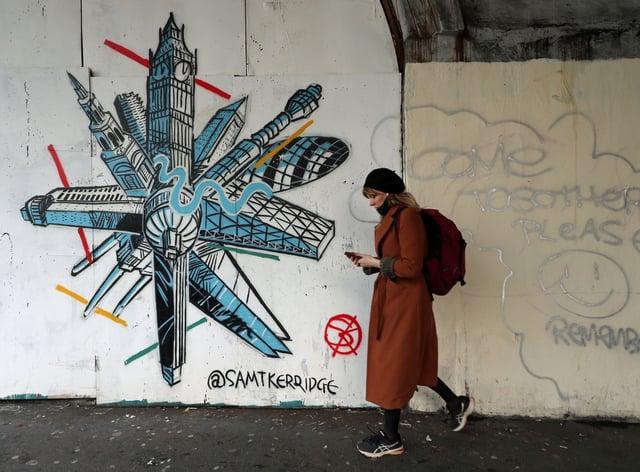 Coronavirus graffiti in London