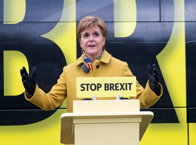 Nicola Sturgeon behind a Stop Brexit podium