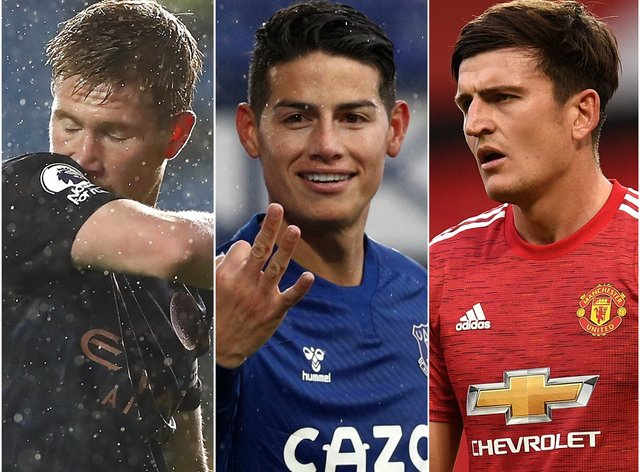 Kevin De Bruyne, James Rodriguez and Harry Maguire, l-r