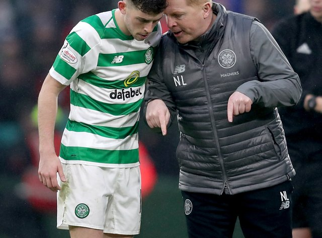 Neil Lennon, right, is set to be without Ryan Christie for the Old Firm derby