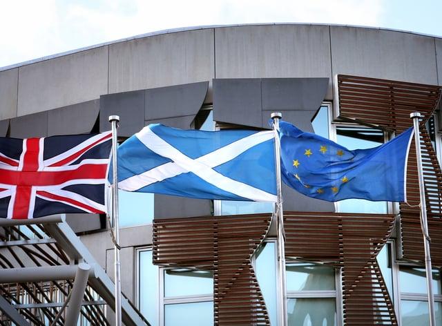 Union, saltire and EU flags