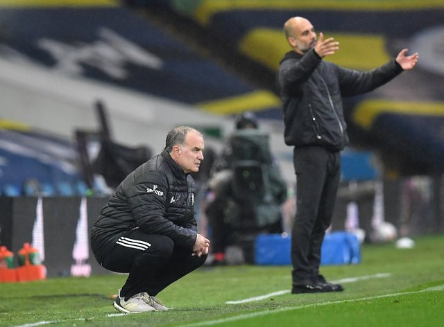 Leeds manager Marcelo Bielsa (left) and Manchester City boss Pep Guardiola have both offered their support to local clubs down the pyramid