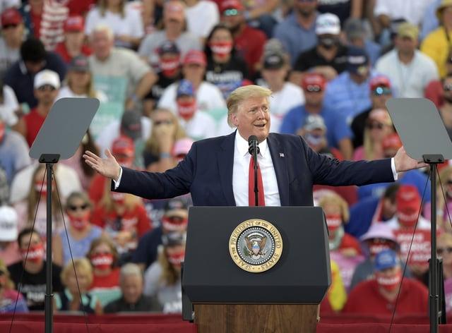 Donald Trump addressing a Florida rally