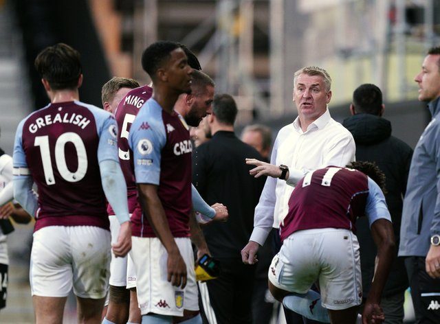 Dean Smith, centre, cites improved fitness as a key factor in Villa's turnaround