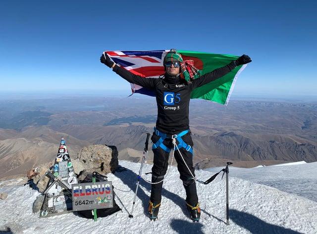 Akke Rahman at the top of Mount Elbrus