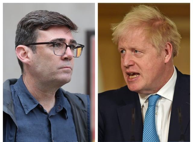 Greater Manchester Mayor Andy Burnham and Prime Minister Boris Johnson