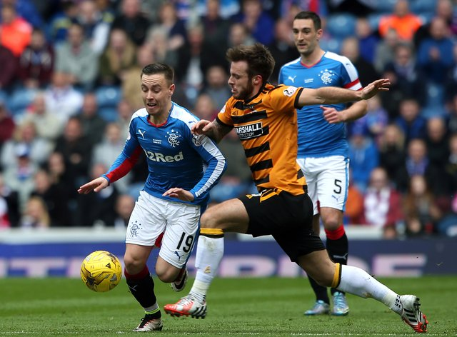 Alloa's Steven Hetherington, centre, was dismissed for two yellow card offences