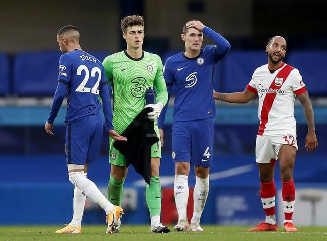Kepa Arrizabalaga, second left, endured a torrid afternoon at Stamford Bridge