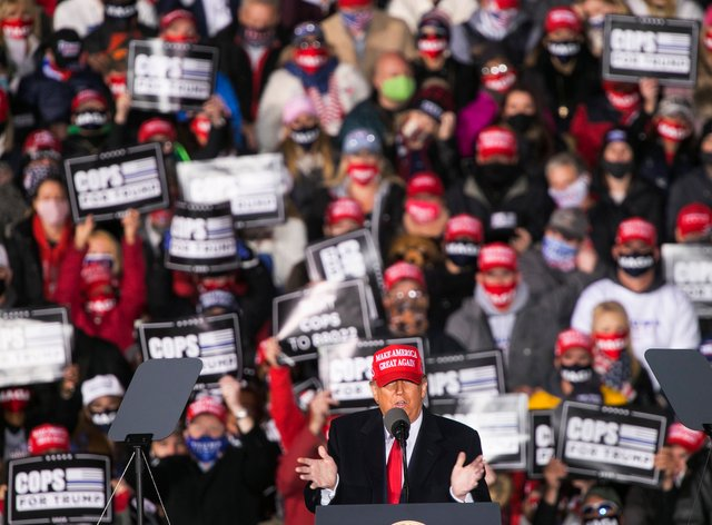 President Donald Trump speaks at a rally at Southern Wisconsin Regional Airport on Saturday