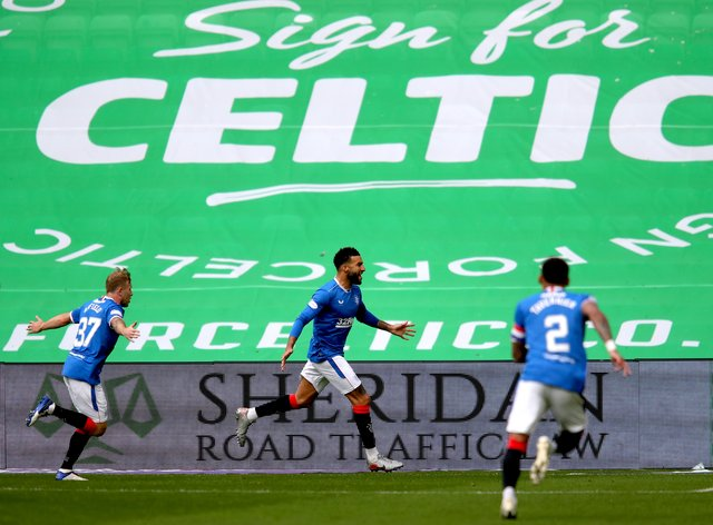 Connor Goldson netted twice at Celtic Park