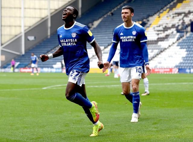 Sheyi Ojo (left) struck for Cardiff