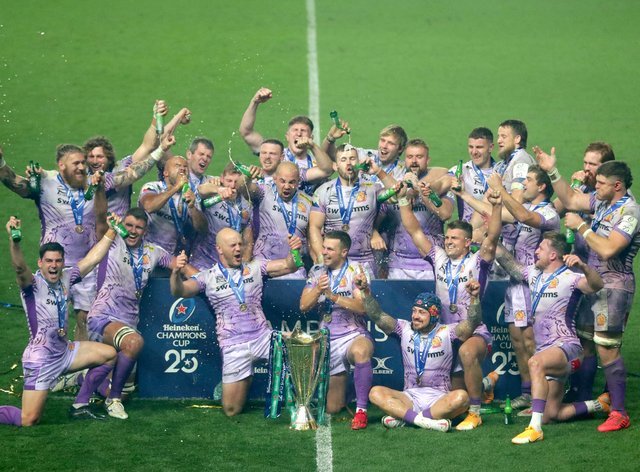 Exeter Chiefs celebrate with the trophy after the European Champions Cup Final at Ashton Gate