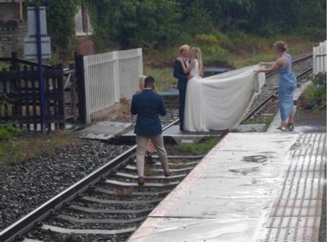 British Transport Police said the railway is 'not an appropriate or safe setting' to pose for a photo (Network Rail/PA)