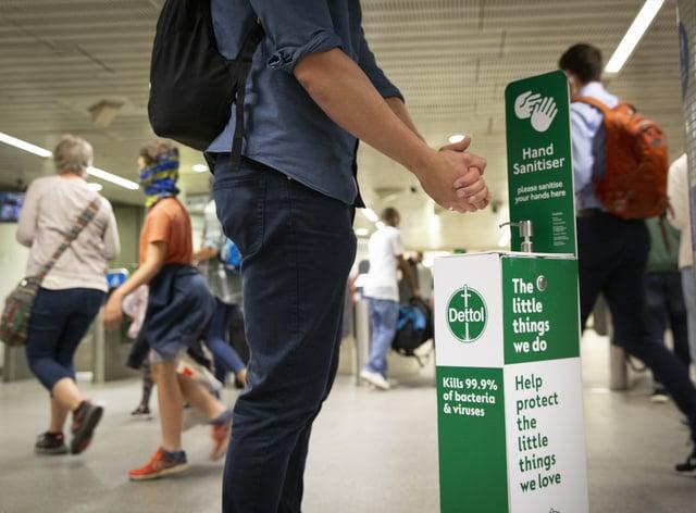 A Dettol hand sanitising station