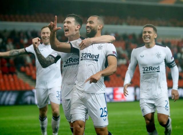 Rangers' Kemar Roofe celebrates his spectacular strike