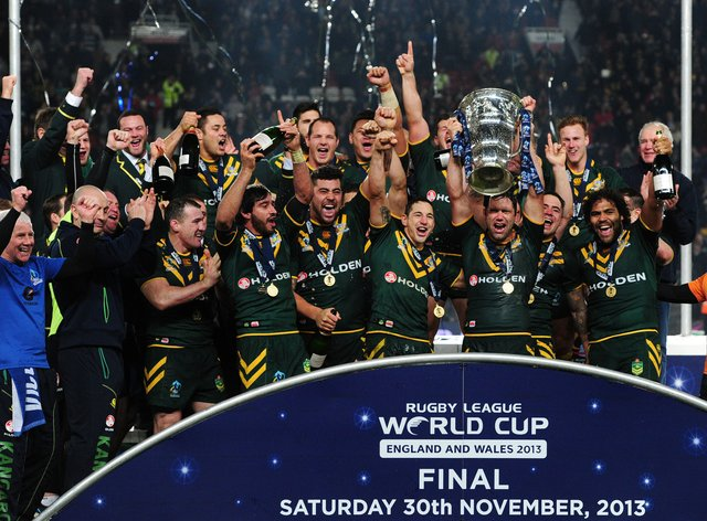 Australia celebrate their victory in the Rugby League World Cup final