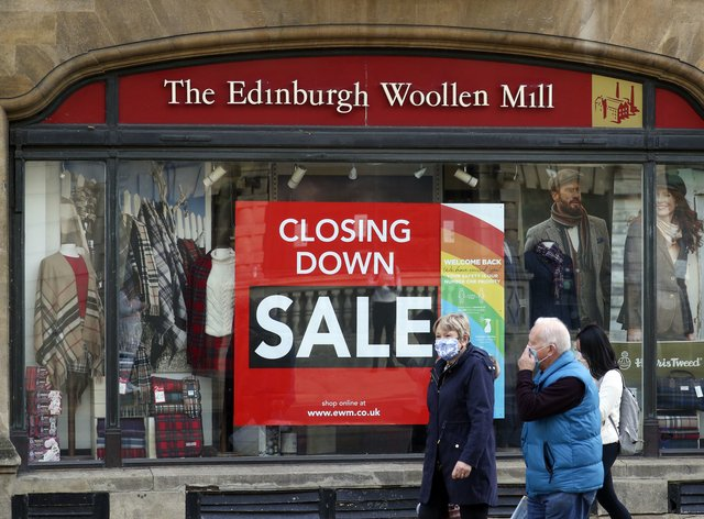 A 'Closing Down Sale' notice on a branch of Edinburgh Woollen Mill