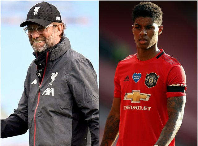 Liverpool manager Jurgen Klopp, left, has praised Manchester United striker Marcus Rashford for his campaign on free school meals