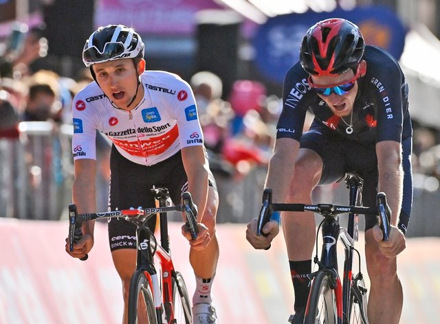 Tao Geoghegan Hart, right, won a thrilling stage 20 of the Giro d'Italia