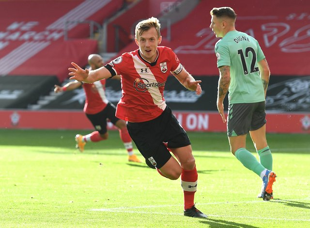 James Ward-Prowse wheels away after scoring the opener against Everton