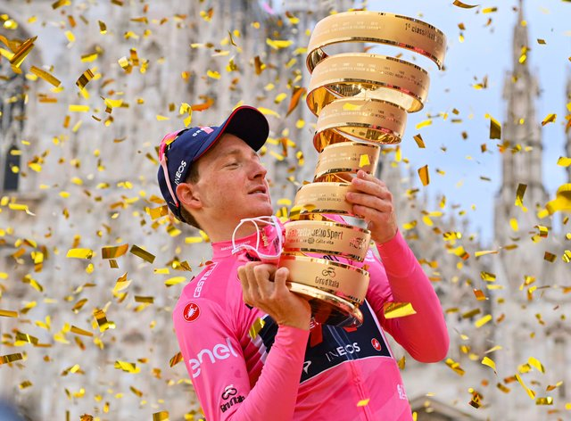 <p>Geoghegan Hart shocked the cycling world by winning the Giro d'Italia earlier this year</p>