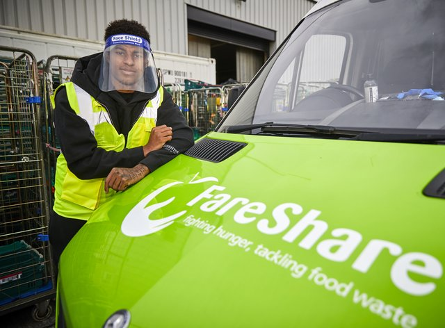 Marcus Rashford at FareShare Greater Manchester visit