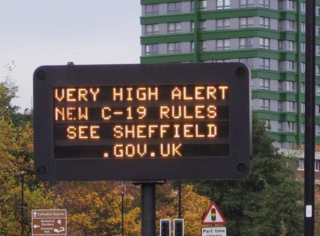 A coronavirus advice sign in Sheffield