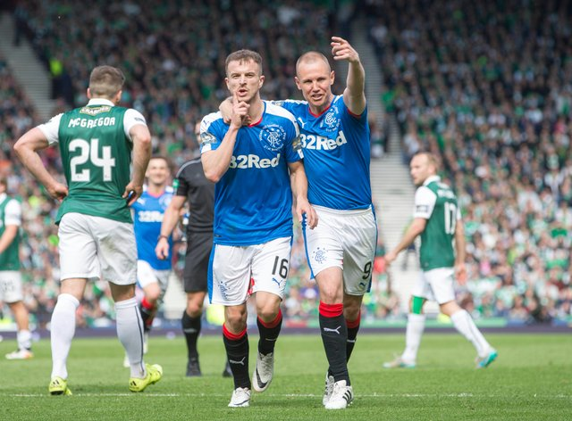 Andy Halliday, left, scored against Hibs at Hampden but ended dup on the losing side