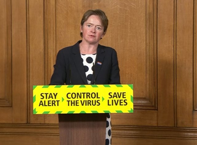 Screen grab of Baroness Dido Harding, executive chairwoman of NHS Test and Trace, during a media briefing in Downing Street, London, on coronavirus
