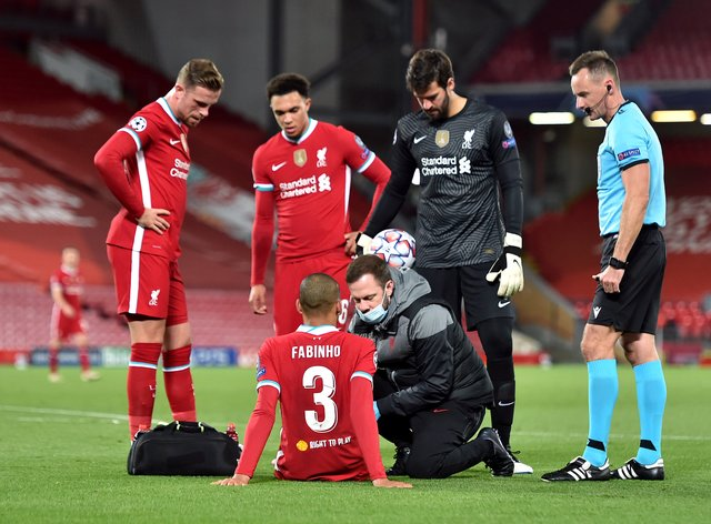 Fabinho was injured in Liverpool's Champions League game on Tuesday night