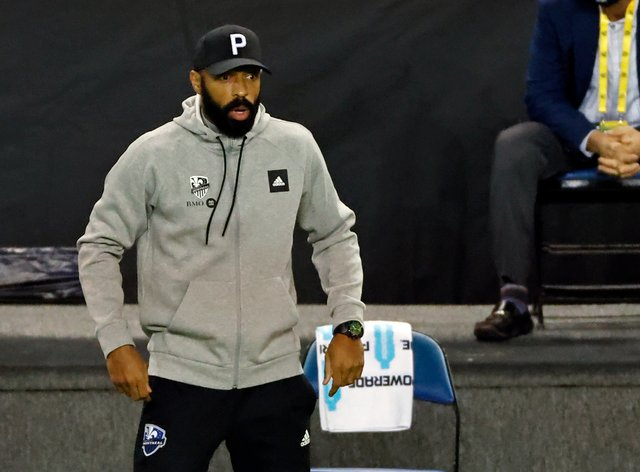 Montreal Impact coach Thierry Henry looks on as his team lose to Nashville